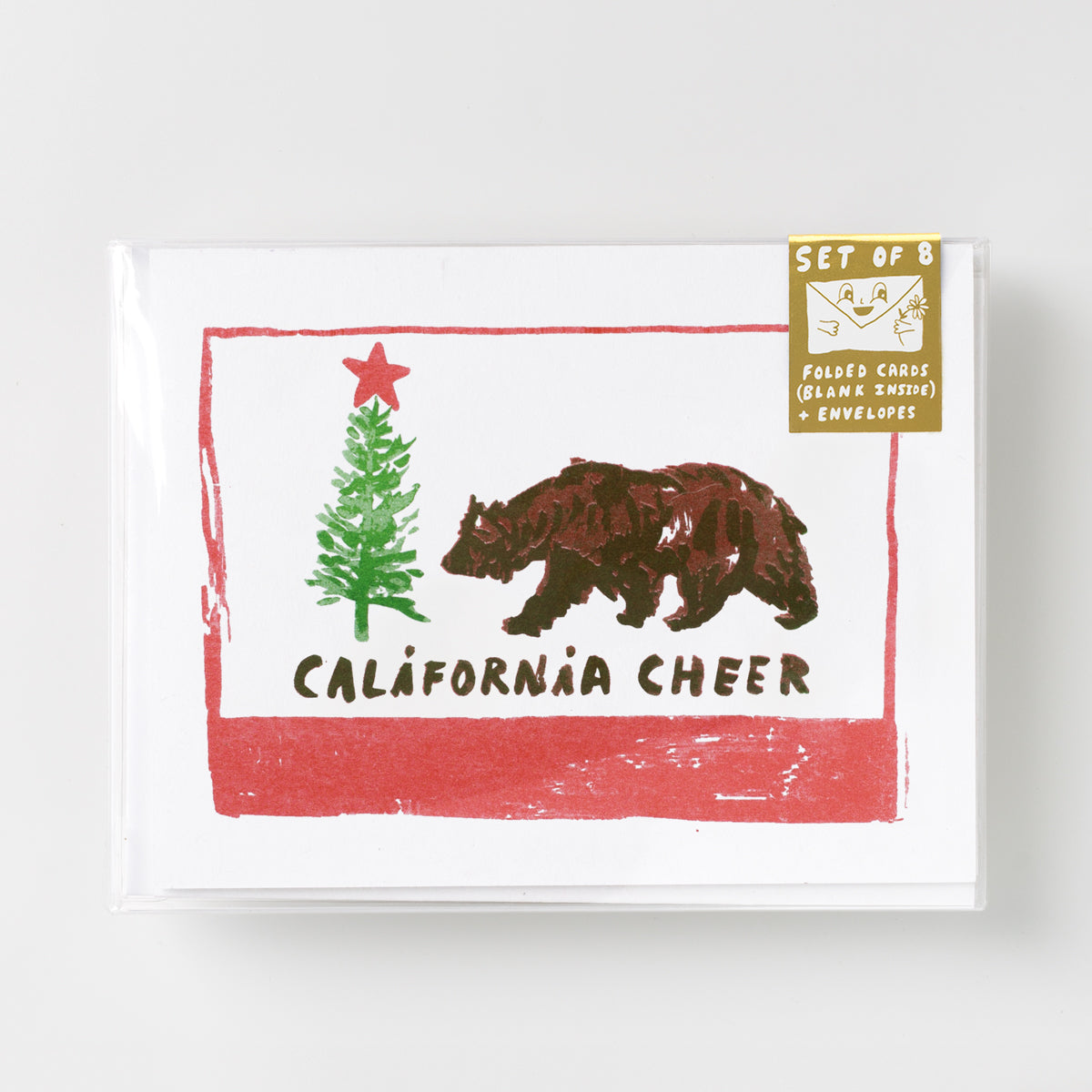 California Cheer holiday risograph greeting card set of 8.