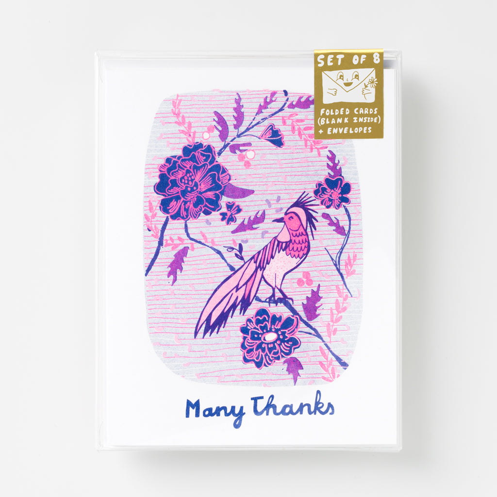 Risograph Thank You greeting card set- bird with flower