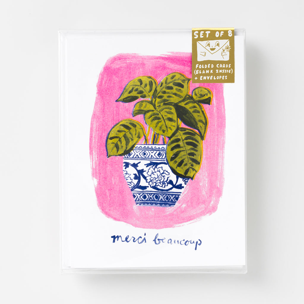 Risograph thank you greeting card set - merci beaucoup potted plant