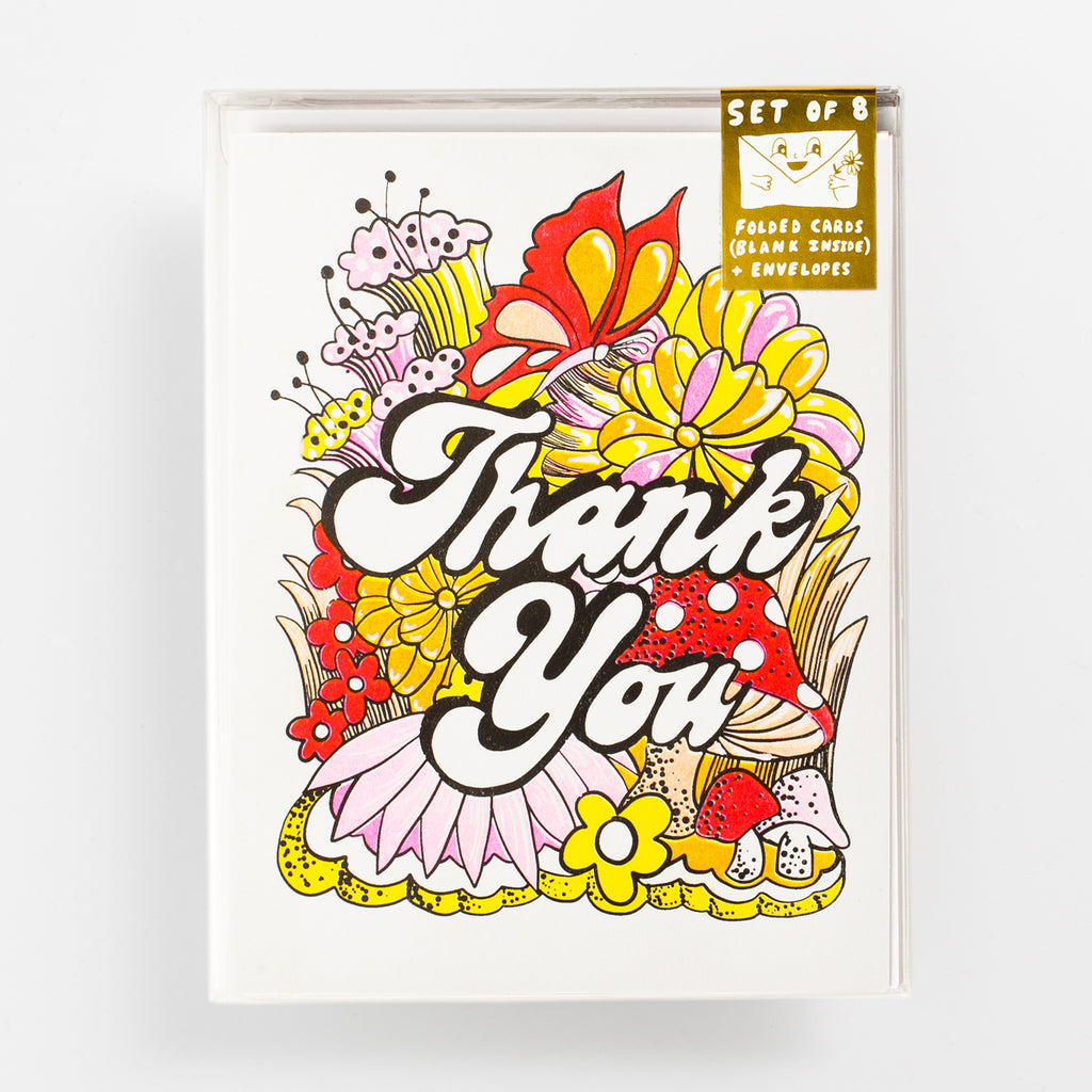 Thank You Floral - Risograph Card Set