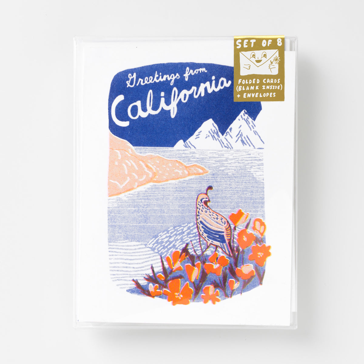 Risograph greeting card set - Greetings From California