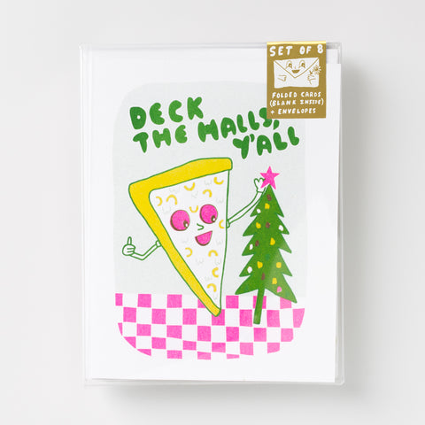 Deck the Halls, Ya'll Risograph greeting card set, holiday greeting card