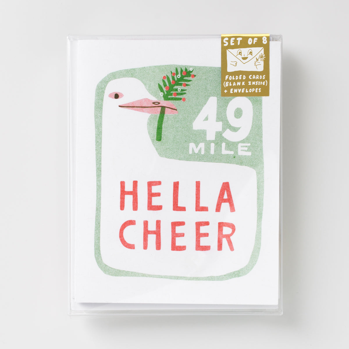 Hella Cheer risograph holiday greeting card set, 49 mile San Francisco