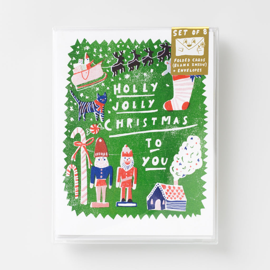 Holly, Jolly Christmas to All Risograph holiday greeting card set
