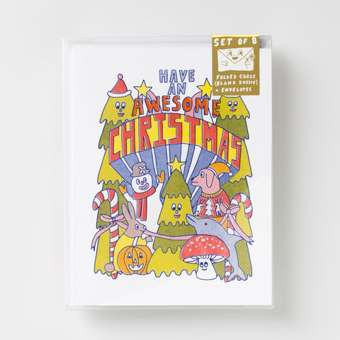 """Have an Awesome Christmas"" Risograph greeting card set"