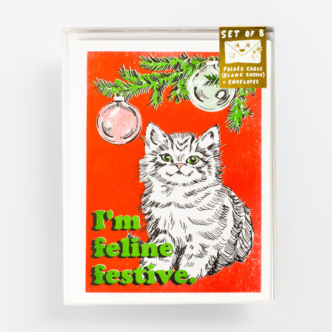 Risograph greeting card set - Christmas greeting card - Cat
