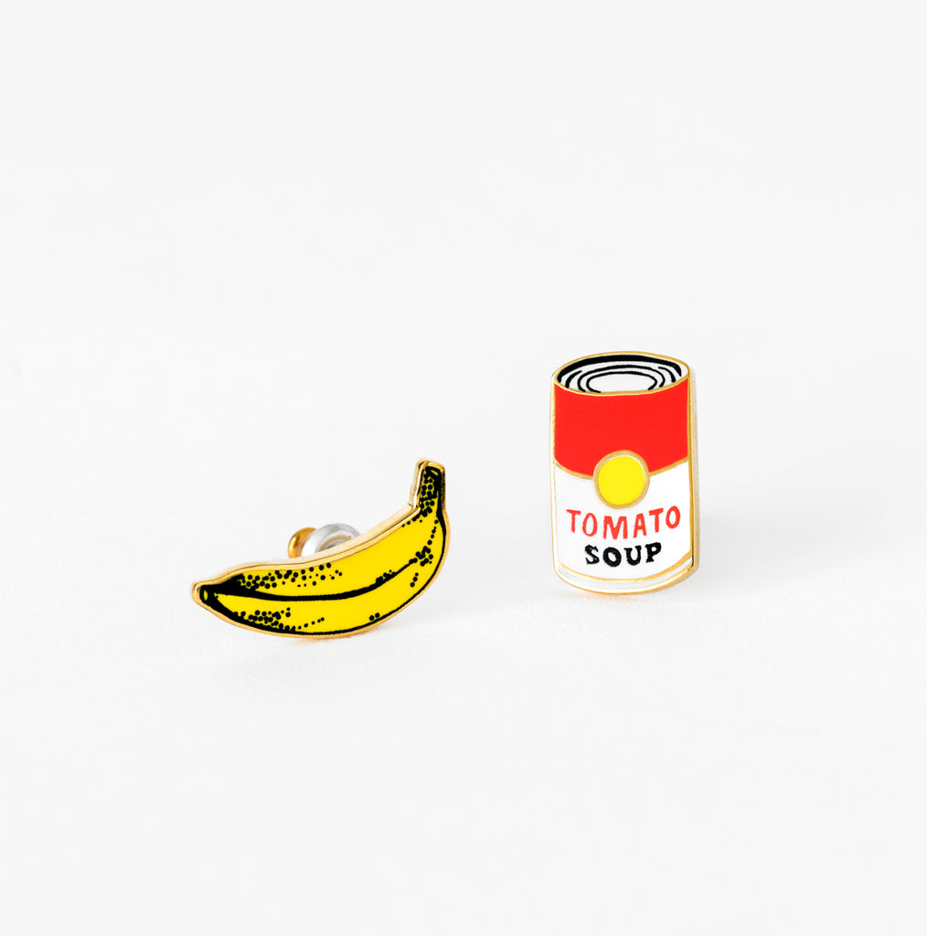 Pop Art Banana & Soup Earring