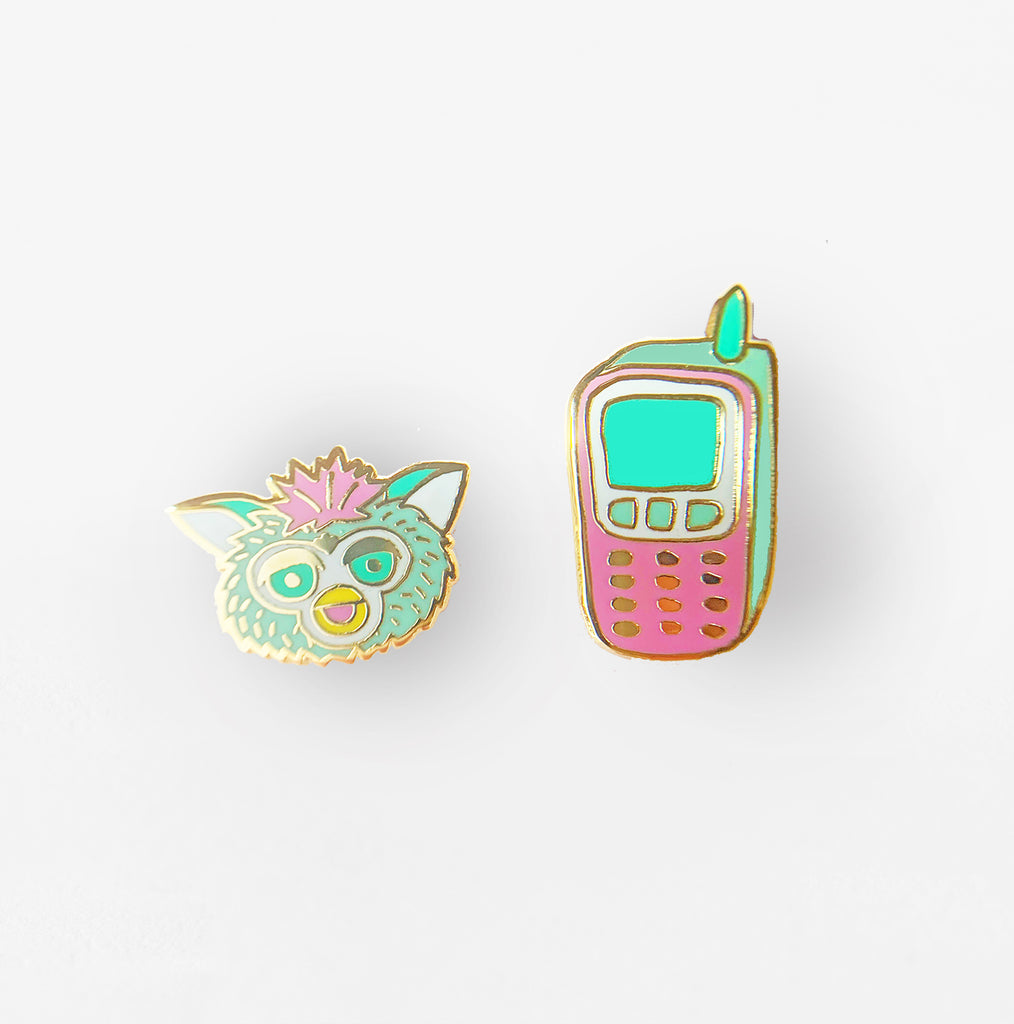 J236 90's Cell Phone & Furby Earrings close up