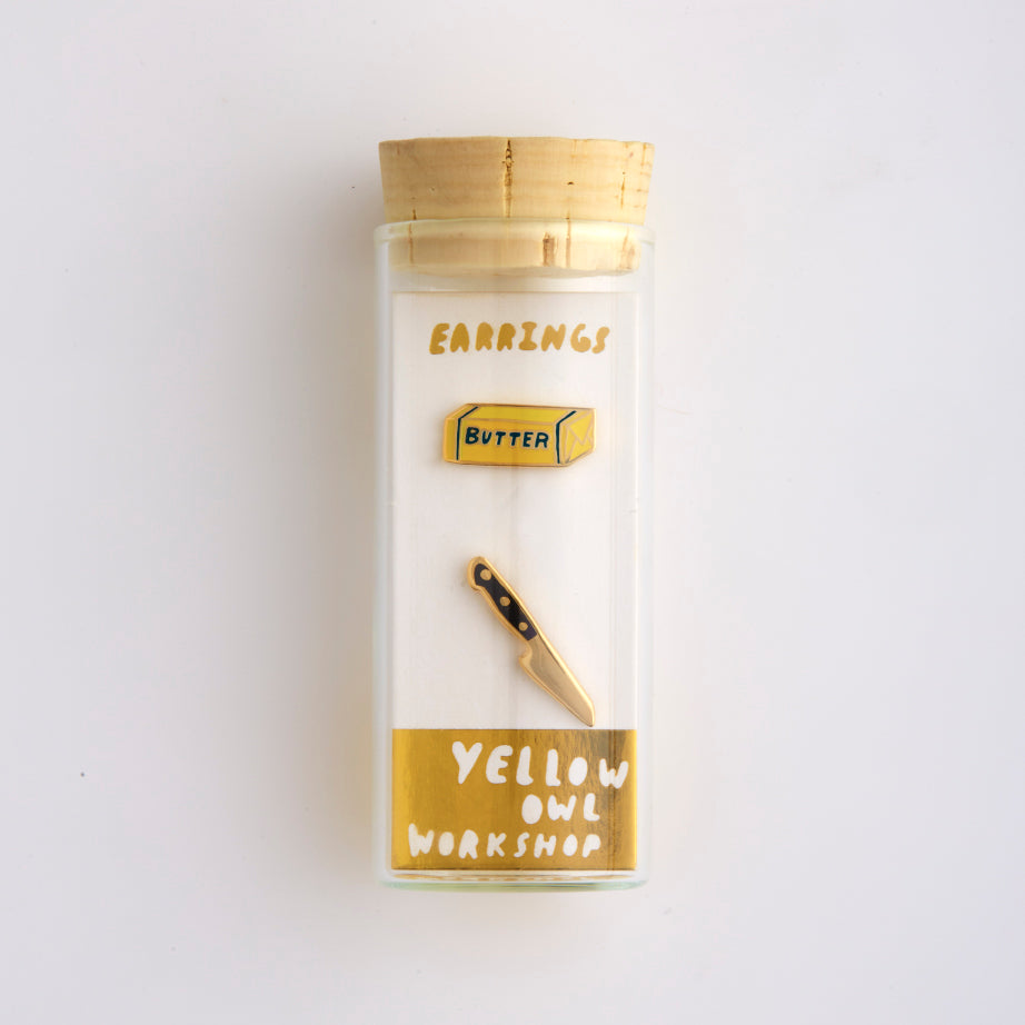 J237 Butter & Knife Earrings in vial