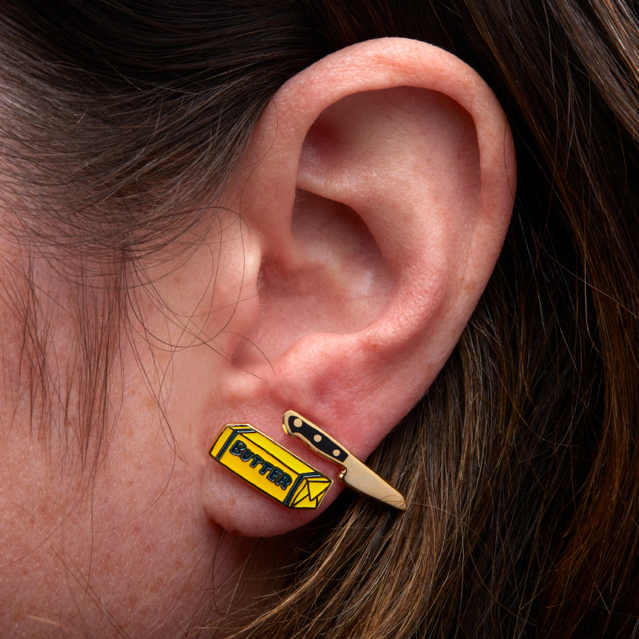 J237 Butter & Knife Earrings on ear