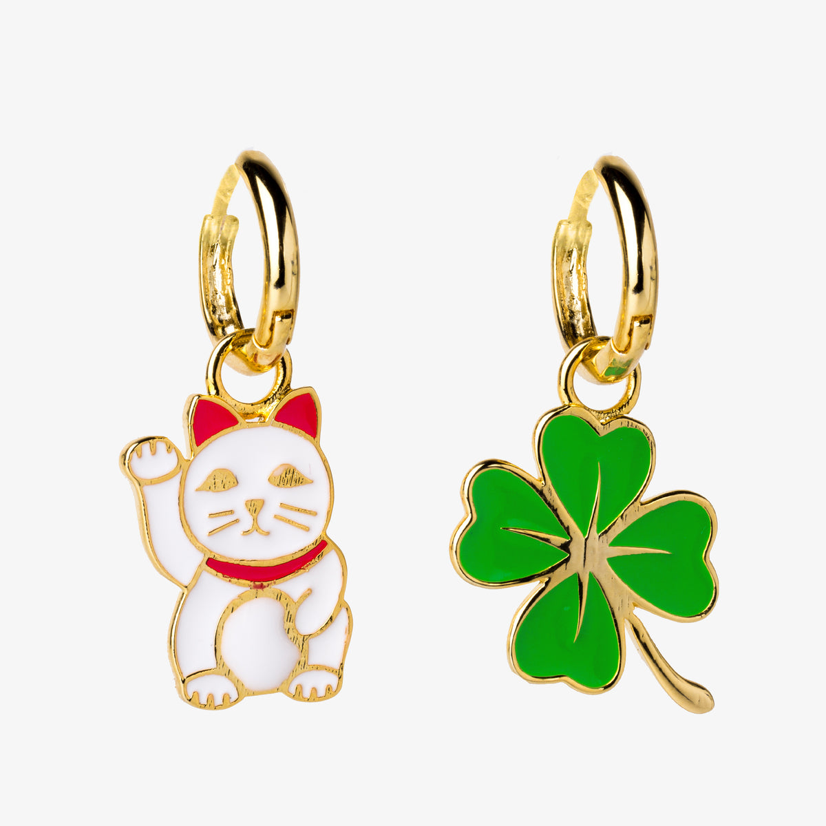 Lucky Cat & Clover Hoop Earrings