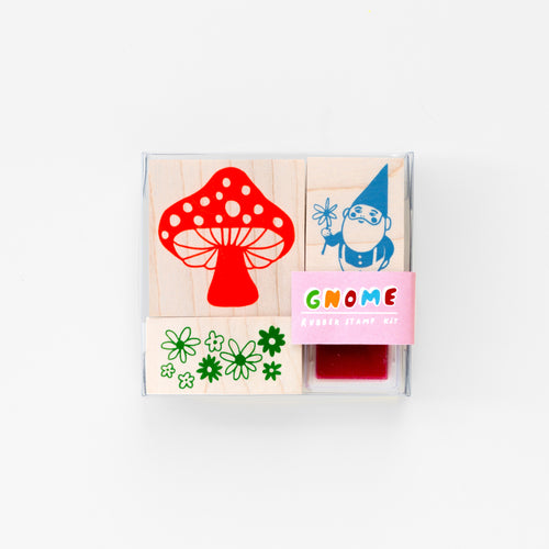 Gnome, mushroom and flower patch wood mounted rubber stamp kit with neon pink ink pad