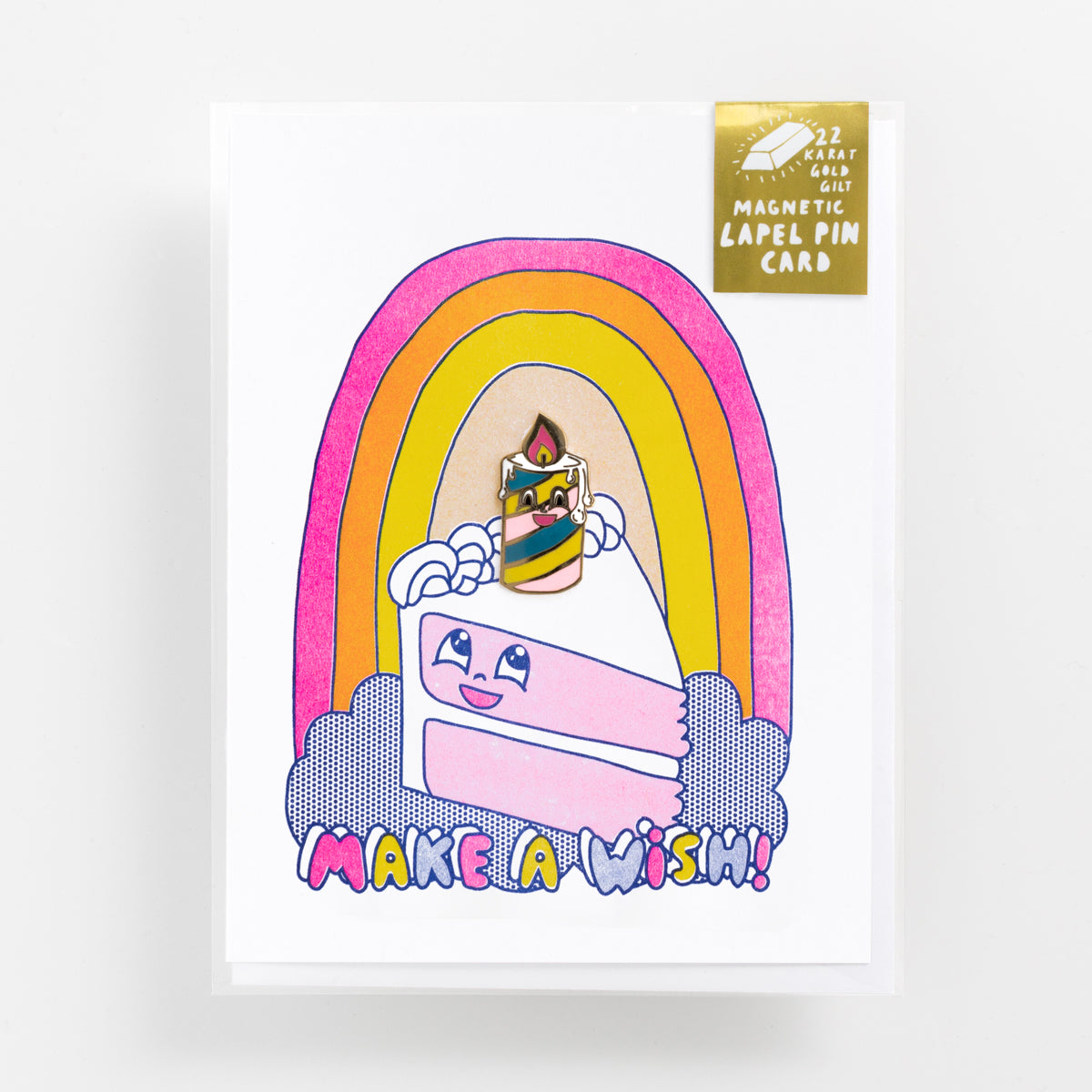 Make A Wish risograph birthday greeting card with 22k gold gilt magnetic birthday candle enamel lapel pin