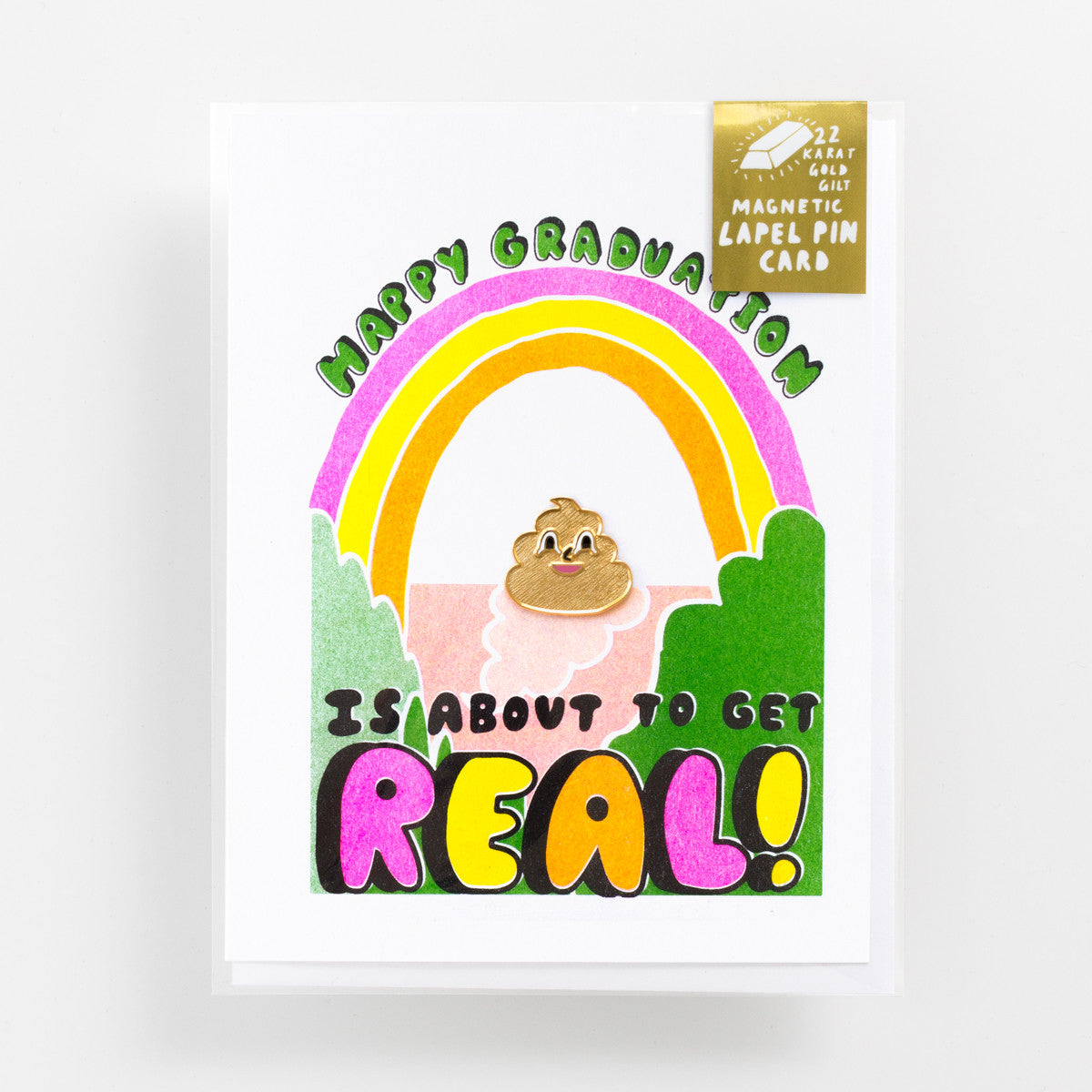Happy Graduation - Risograph greeting card and magnetic gold poo enamel lapel pin