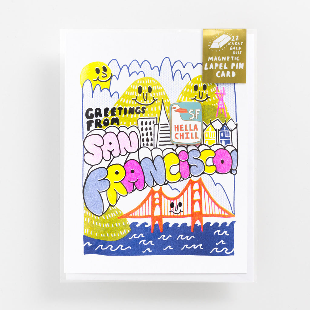 Risograph greeting card with San Francisco magnetic enamel lapel pin