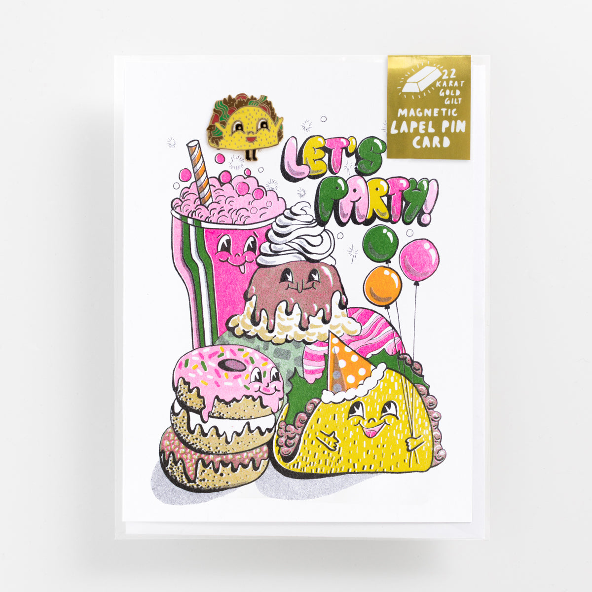 'Let's Party' risograph greeting card with 22k gold gilt magnetic taco enamel lapel pin