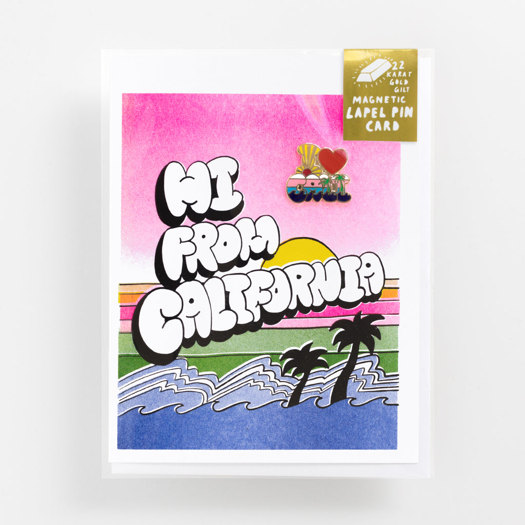 Hi From California risograph greeting card with I heart California magnetic enamel lapel pin