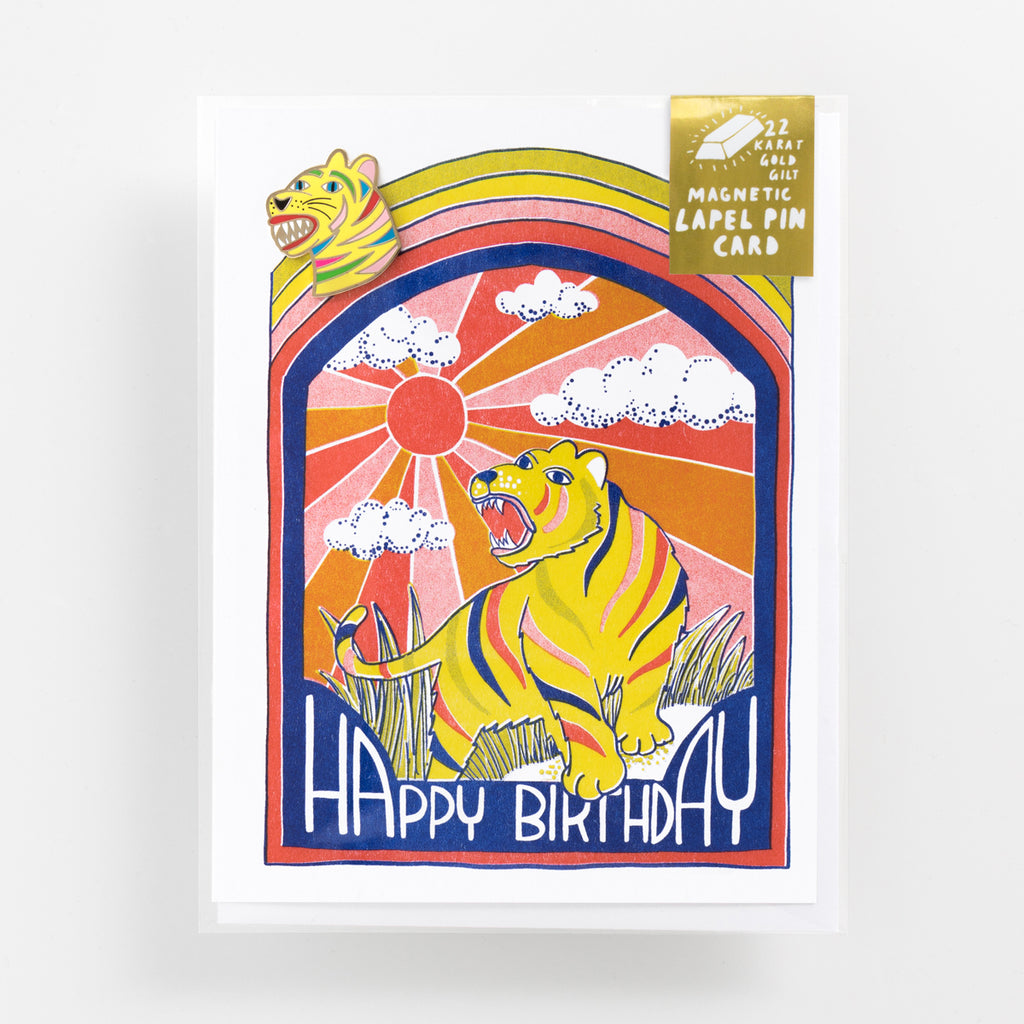 Risograph greeting card with magnetic tiger lapel pin - Happy Birthday greeting card