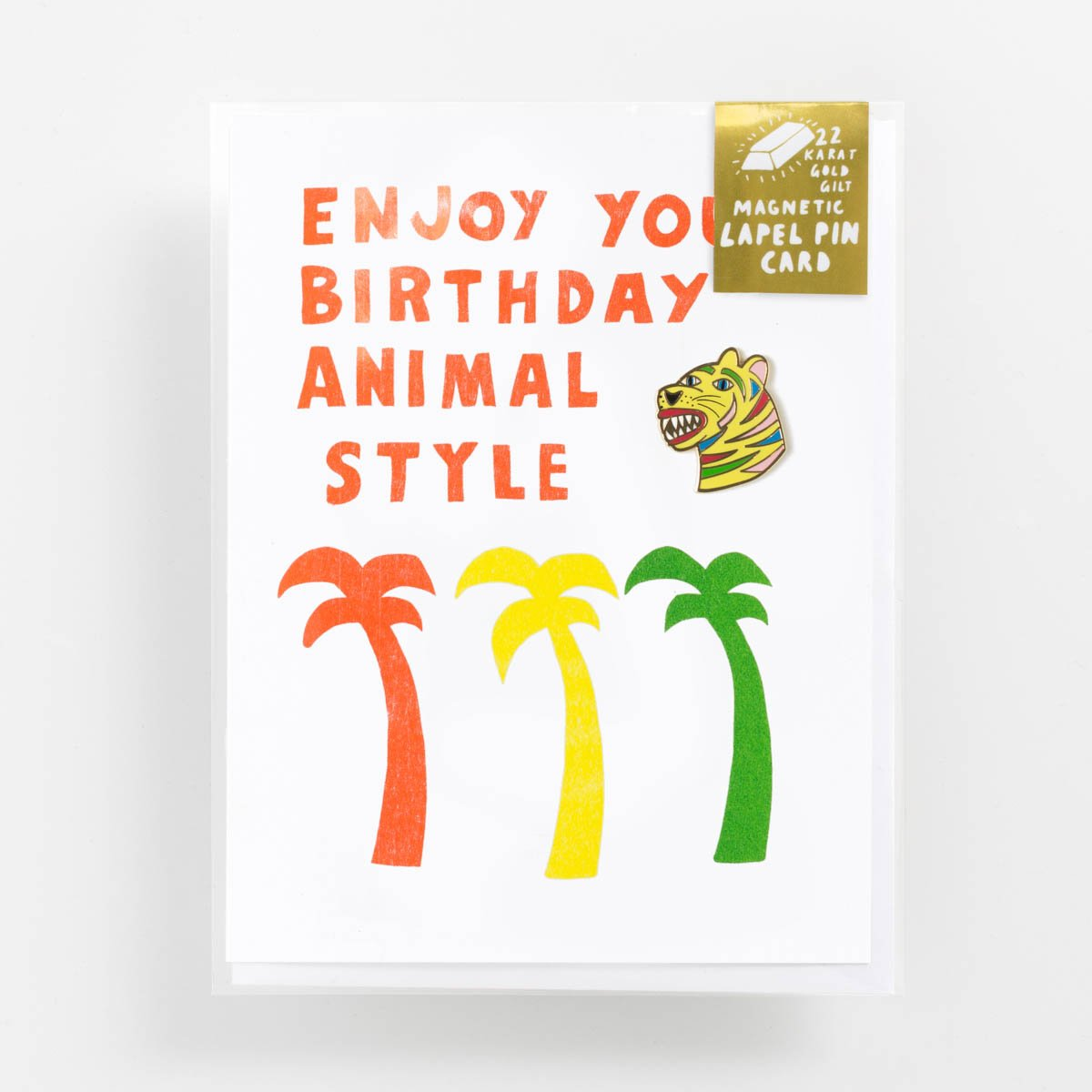 Animal Style Birthday - Lapel Pin Card