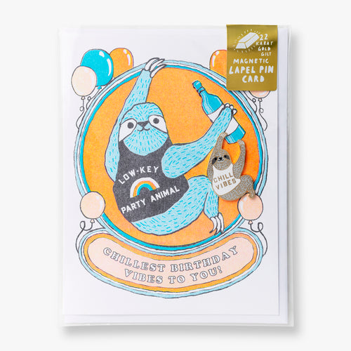 Sloth Birthday - Lapel Pin Card
