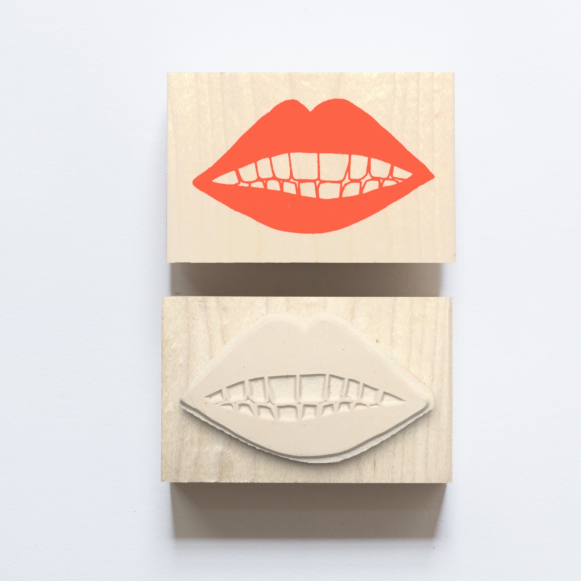 Wood mounted rubber stamp of lips