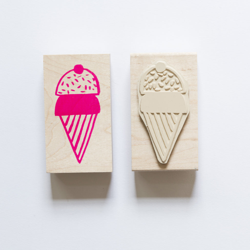 Wood mounted rubber stamp of an ice cream cone