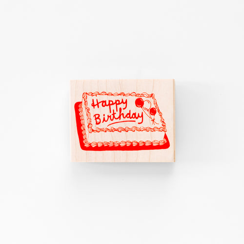 Wood mounted rubber stamp, happy birthday sheet cake