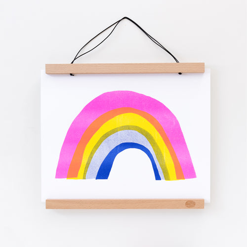 Hand printed Risograph art print of a neon rainbow
