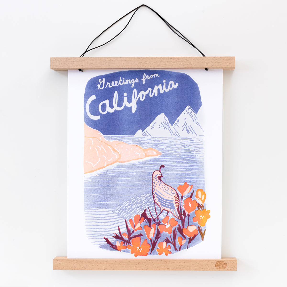 Greetings from California handprinted risograph art print