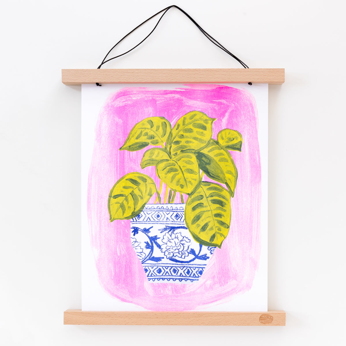 Hand printed Risograph art print of a potted plant