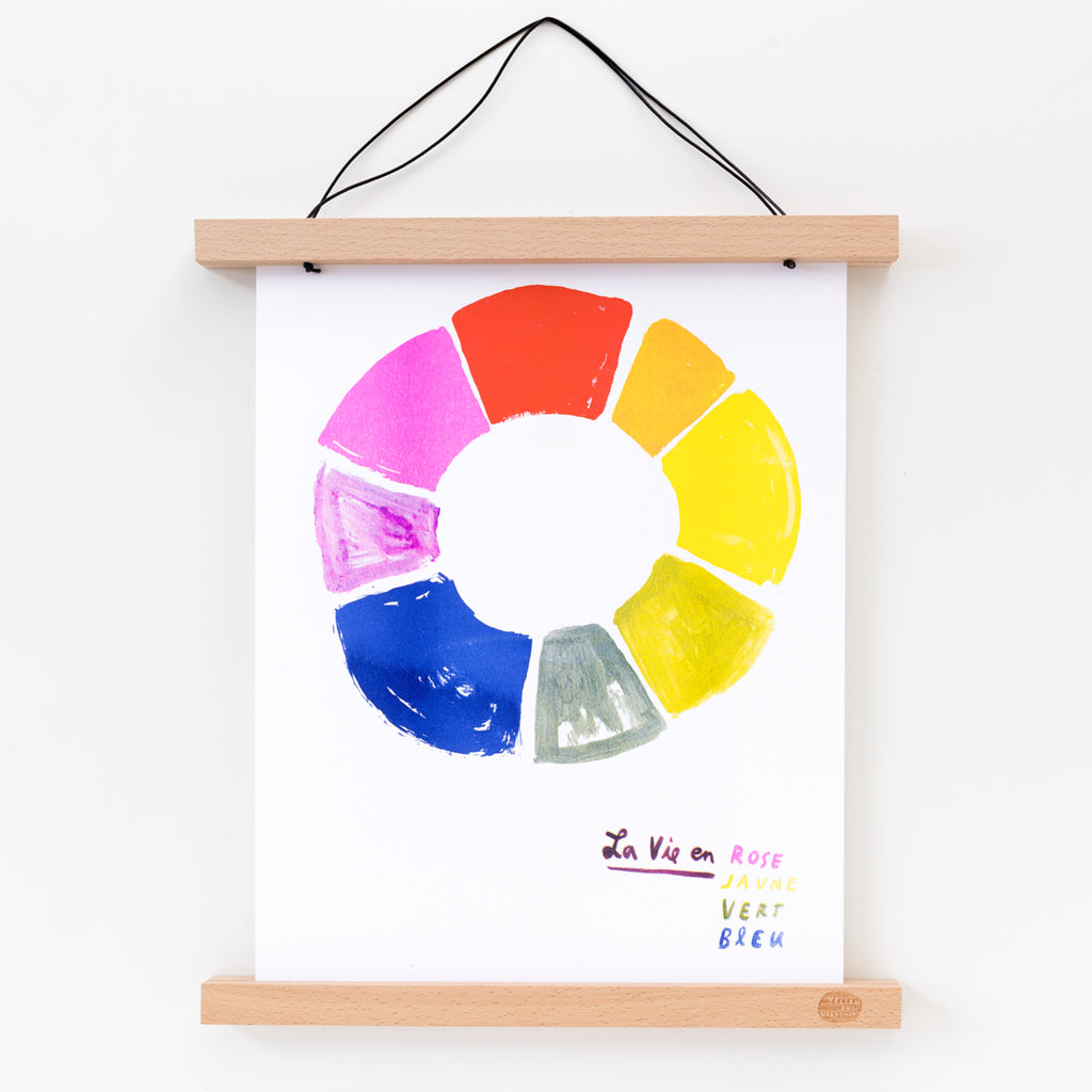 Handprinted risograph art print of a color wheel