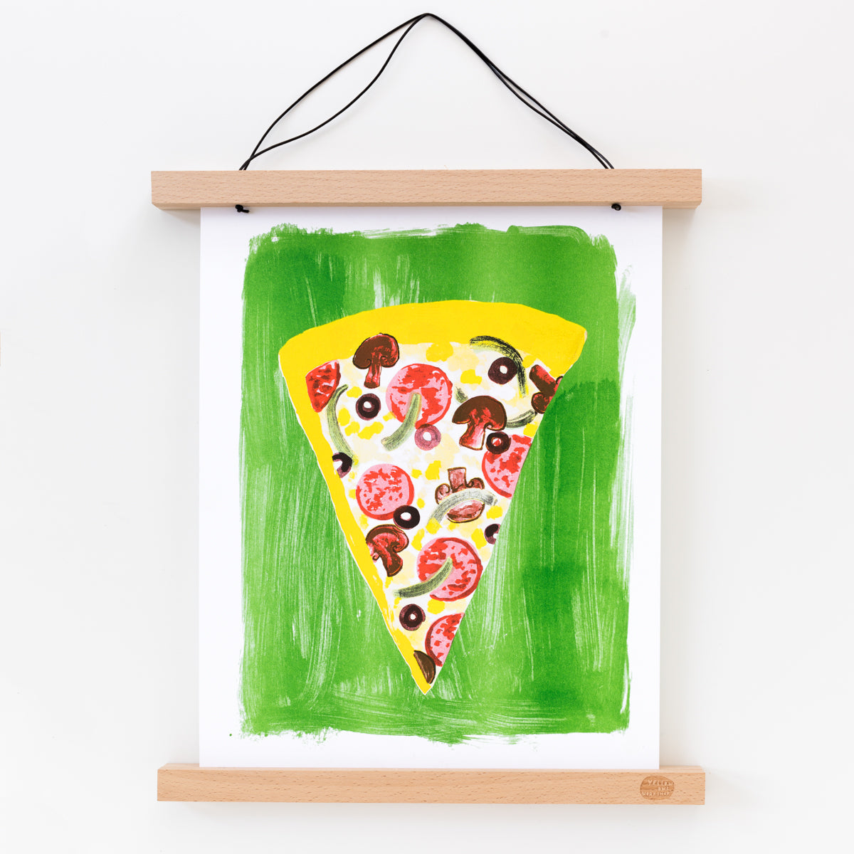 Hand printed Risograph art print of a pizza slice on a green background