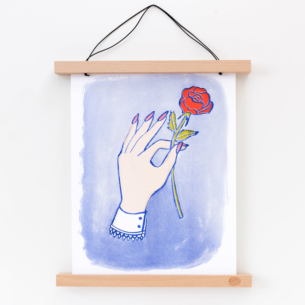 Risograph art print, hand with rose