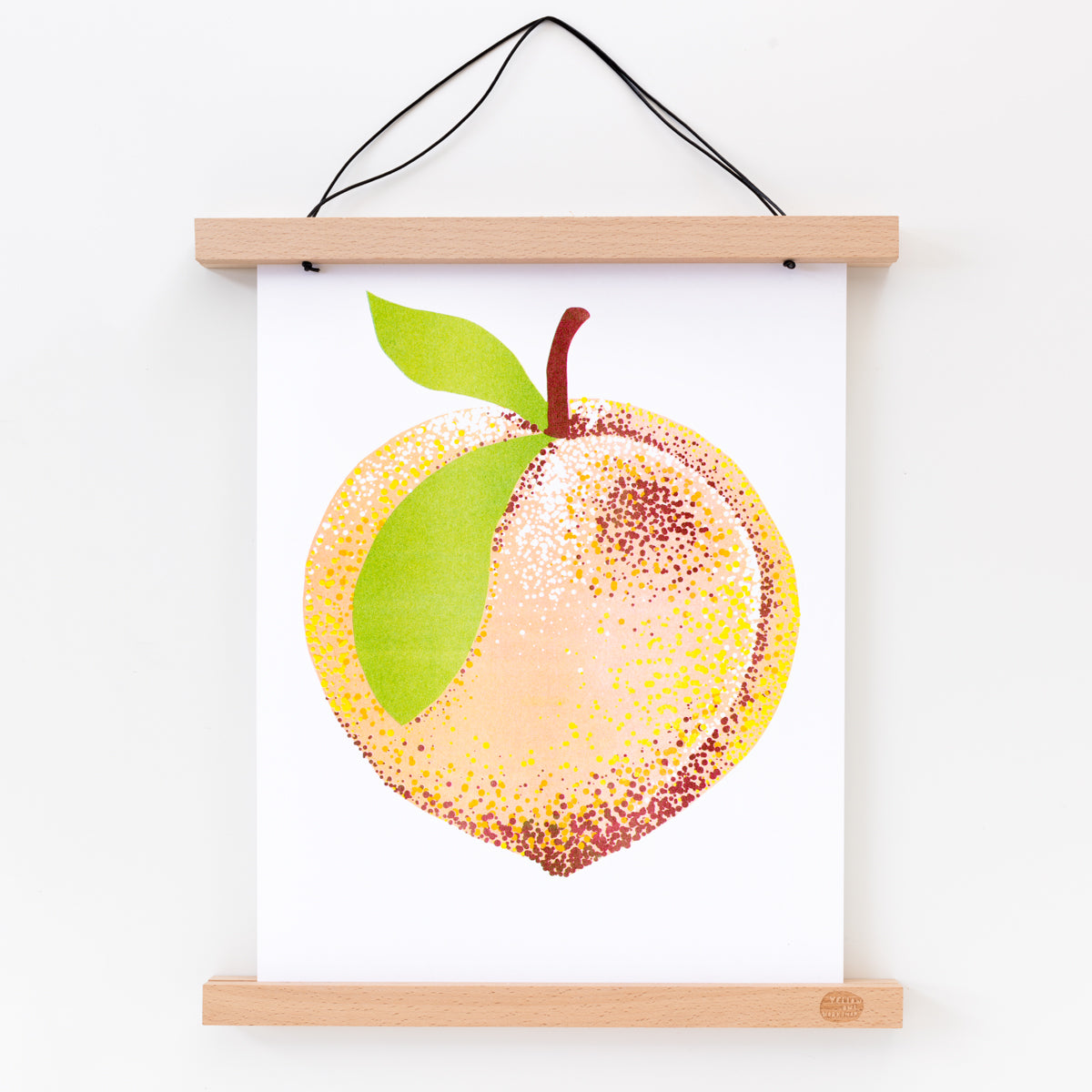Risograph art print of a peach