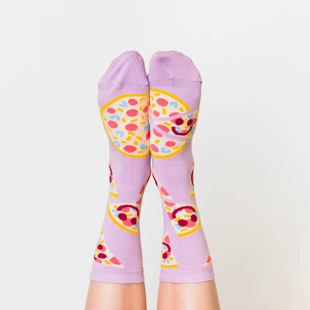 Pizza Face Crew Socks - Womens