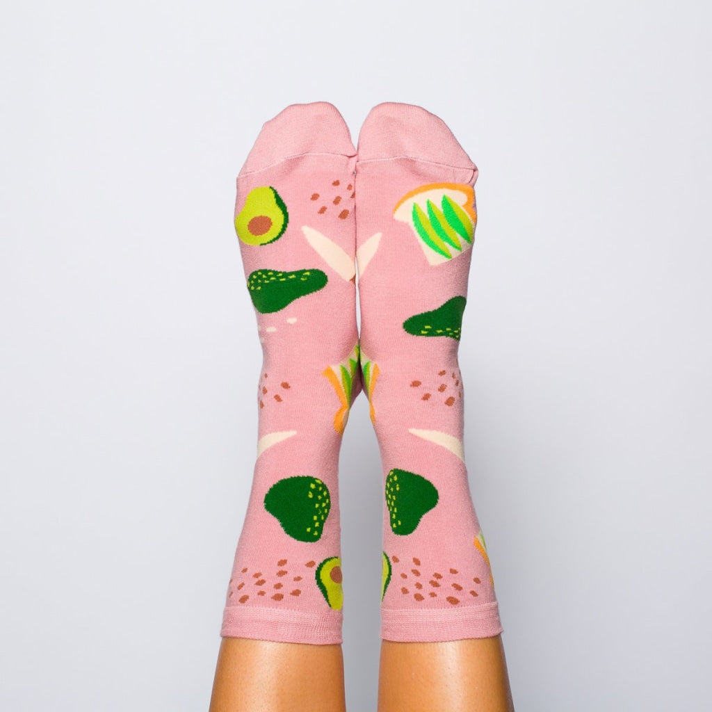 Avocado Toast Crew Socks - Womens