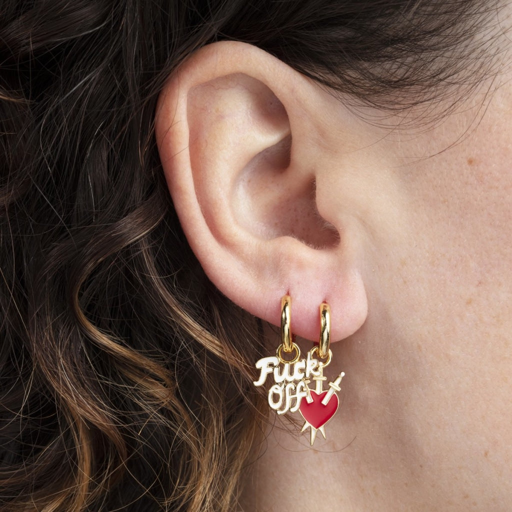 Fuck Off & Heart With Daggers Hoop Earrings