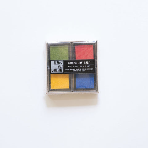 Set of 4 small archival pigment ink pads - red, green, blue and yellow