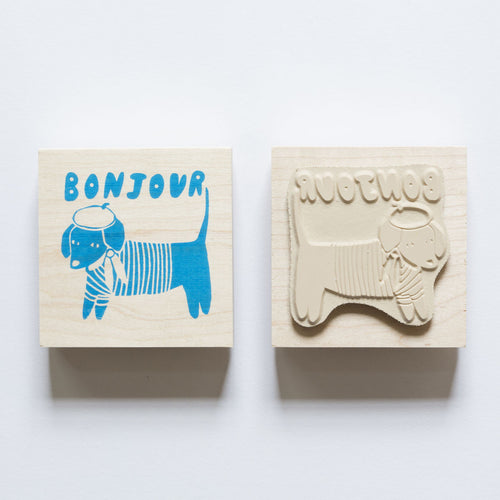 Bonjour Rubber Stamp with Dog in Beret and Striped Shirt