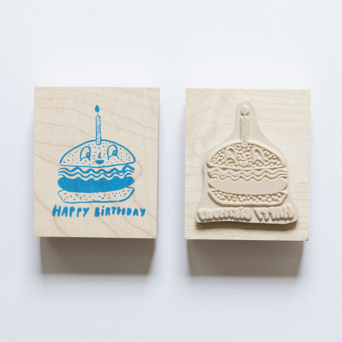 Happy Birthday wood mounted rubber stamp featuring a burger with birthday candle graphic.