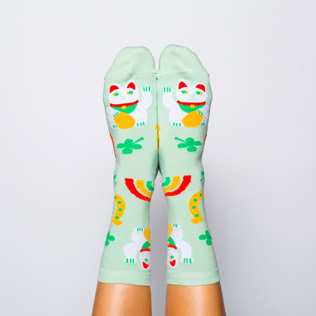 Luck Cat & Clover Crew Socks - Womens
