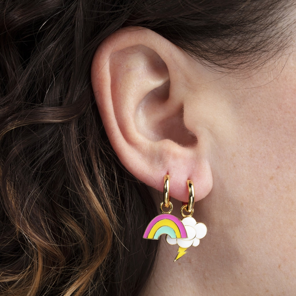 Rainbow & Cloud Hoop Earrings