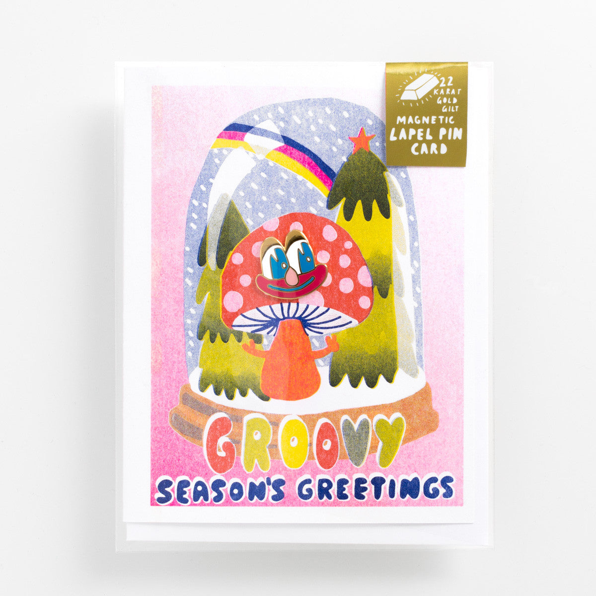 Risograph holiday greeting card with cartoon magnetic enamel lapel pin