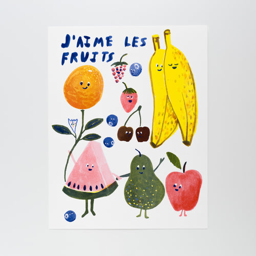 "Handprinted risograph art print featuring various fruits and ""J'aime Les Fruits"""