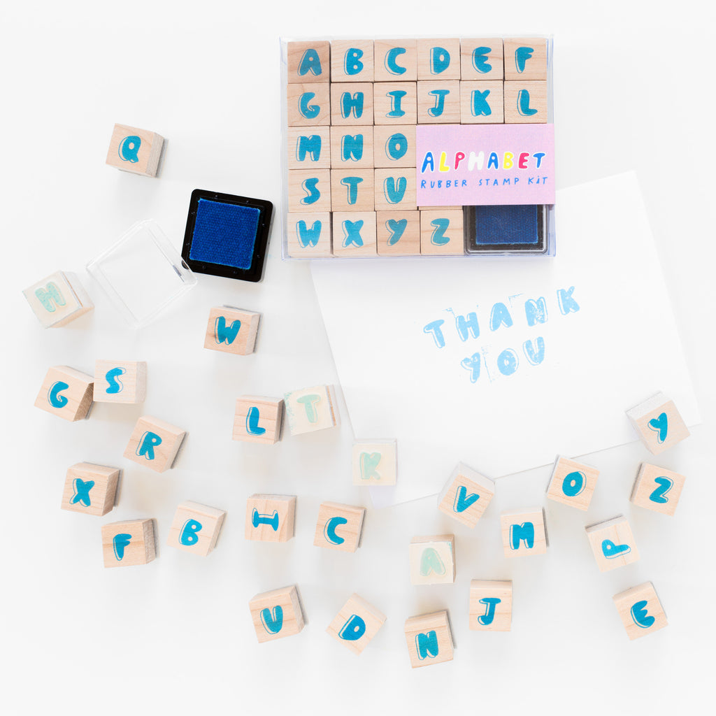 Bubble letters alphabet rubber stamp kit with neon blue ink pad