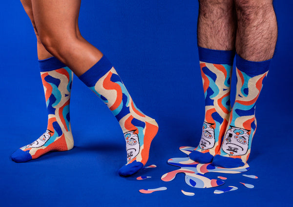 Artsy - Blue and Redorange Socks