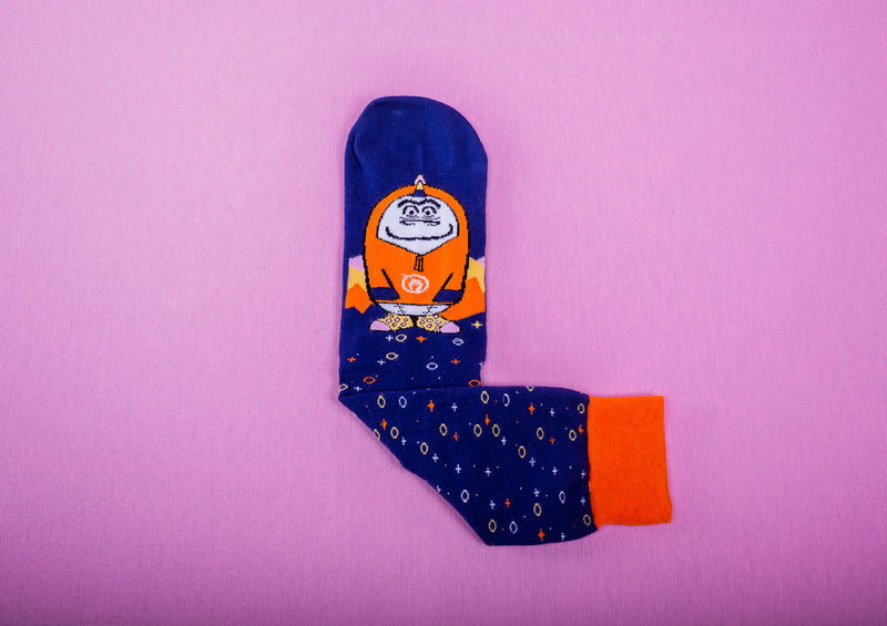 Comfy - Denim blue and orange Socks