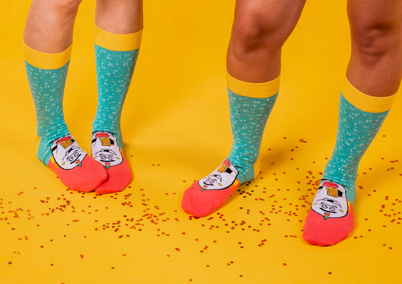 Party Animal - Blue turquoise and Salmon Socks