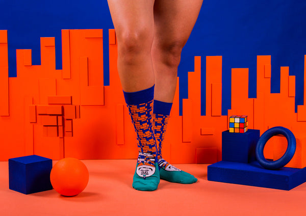 Wild - Orange and Cobalt Blue Socks