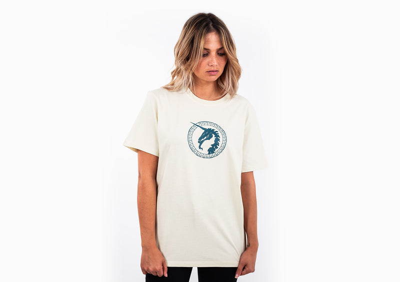 Beige T-shirt - Unicorn Print